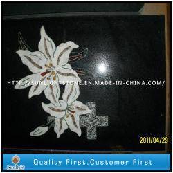 Shanxi sculpture en pierre de granit noir d'ombre avec motif de fleurs