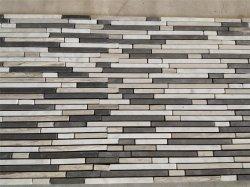 屋内内部の浴室の台所床の壁の装飾のための玄武岩のカラーラの自然な木の白い大理石の混合されたモザイク