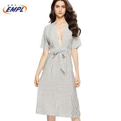 여름 줄무늬는 섹시한 V 목 고삐 복장 숙녀 벨트를 가진 등이 없는 면 셔츠 복장을 인쇄했다