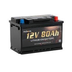 Polinovel mayorista Fabricante de ciclo profundo 12V 80Ah LiFePO4 Recargable Ocio Solar RV Barco marino de la batería de iones de litio