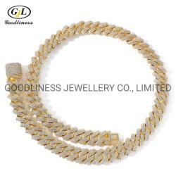 Accessori di moda Sterling Silver 14mm Diamond Miami Cuban link Chain Collana Choker Hip Hop Gioielli di moda