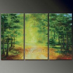 3 PCS carácter artesanal de alta qualidade Árvore Scenely pintura a óleo --- Tree na Floresta Decoração de parede decorações em casa
