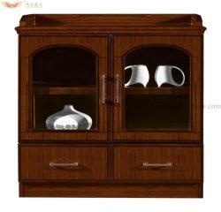 Credenza té moderno almacenamiento lateral Chapa de madera Armario de oficina (HY-512)