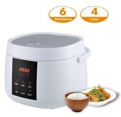 다양한 메뉴의 요리 쌀밥, 수프, 건강한 저설탕 쌀이 있는 소형 전자제품 가정용품