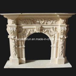 Cheminée en marbre feuille fleur Sculpture (PRF516)