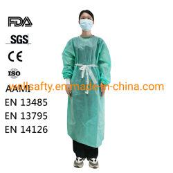 Ce, ISO, FDA одобрил Non-Sterile одноразовые нетканого материала водонепроницаемой изоляции платье SMS/PP/PE 30 GSM ANSI/AAMI Pb 70 уровня 2, уровня 3 с фартуком