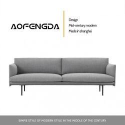 Estilo italiano extremamente simples pano Pequeno Sofá de Arte Moderna da Europa do Norte de uma única pessoa contratada três Pessoa sala de estar em Linha Reta Sofá