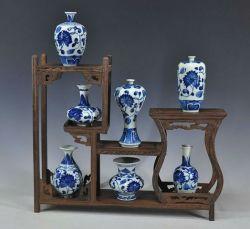 أثر قديم زخرفيّة زرقاء وبيضاء خزفيّة خزف إناء زهر