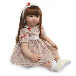 60cm lebensechte wieder geboren Kleinkind-Baby-Silikon-Mädchen-Puppe mit langer lockiger blondes Haar-Prinzessin Doll Toy Christmas Gift