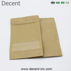 Ziplock 스낵이 있는 공장 주문 제작 푸드 등급 스탠드업 백 플라스틱 브라운 크래프트 식품 포장 종이 가방(창문 포함