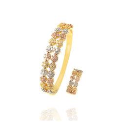 Jóias de flor concisa Rhinestone Bangle Conjunta e o anel de três cores ou single