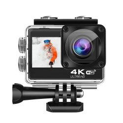 Cámara de Acción de 4K 16MP visión submarina cámara resistente al agua 3 PC Webcam Gran angular de 170° de la leva de deportes de WiFi con mando a distancia 2 baterías y Kit de accesorios de montaje
