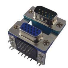 Conector D-SUB de porta dupla com macho de 9 a 15p Fêmea Ângulo recto