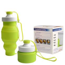 Novo Item de Silicone Dobrável livre de BPA Silicone Recolhível garrafa de água potável com o logotipo personalizado