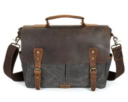 Cow Leather Trim를 가진 도매 Customized Designer Waxed Canvas Briefcase