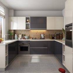 Mobilia di legno della lacca di rivestimento di figura opaca del Brown/U dell'armadietto della cucina