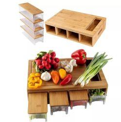 トレイふた付き竹製カッティングボードチョップボード 容器入りカッティングボード食品落下ゾーンおよび野菜トレイ