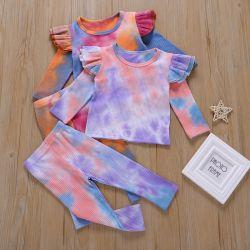 長い袖のTシャツすばらしい品質3から5の年の幼児女の子の方法衣類の一定のタイの染料のおよびズボン
