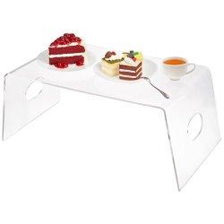 Mini clair de l'acrylique Lucite café servant le petit-déjeuner/bac de réception au tour de lit avec des poignées
