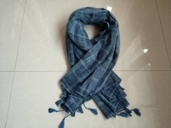Primavera/Otoño mujer hilados Plaid teñido de larga bufanda tejida con Fringers