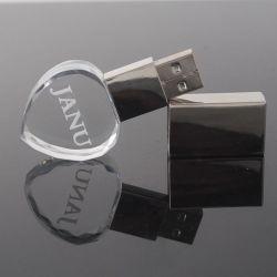 Pormo Coração Crystal USB com suporte para USB2.0&USB3.0 de 4GB, 8GB, 16GB, 32GB, 64GB presentes de casamento
