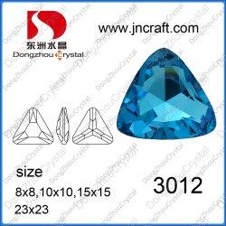 Fabricante Pujiang señaló cortado de plata chapada en triángulo facetadas de cristal color aguamarina perlas de vidrio
