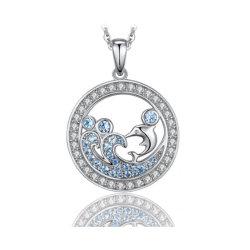 925 Pingentes de prata esterlina criado Pingentes Spinel Azul Claro Ocean Wave jóias pendente dos golfinhos