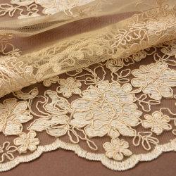 Klassisch Gold Gesticktes Mesh Brautkleid Spitze Material