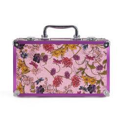L'alluminio poco costoso personalizzato portatile del tessuto del fiore mette la cassa cosmetica di memoria