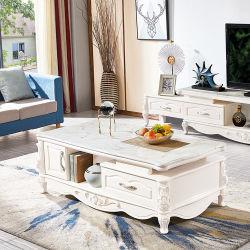 Muebles de salón de lujo de estilo europeo MDF mayorista encimera de mármol mesa de café con soporte para TV