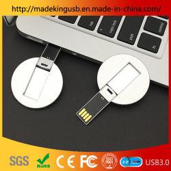 محرك أقراص USB محمول/محرك أقراص محمول قابل للتخصيص للبطاقة المستديرة المعدنية