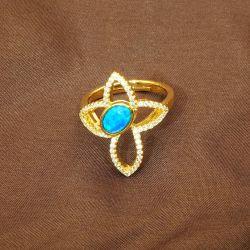 S925 Bagues en Argent Sterling 18K Les anneaux d'Opale plaqué or Bijoux en gros