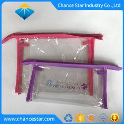 Fecho de plástico de PVC transparente personalizada saco com bordas de costura de tecido