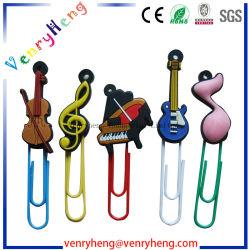 Cadeau promotionnel en PVC souple en caoutchouc de silicone Signet trombone