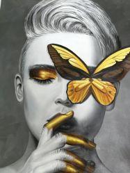 金蝶が付いている現代Face Canvas女性油絵
