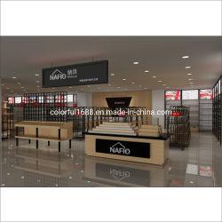La cremagliera di legno su ordinazione del metallo accantona la visualizzazione di legno di legno della memoria di pattino delle cremagliere di visualizzazione della parete del pattino della scaffalatura della gondola della strumentazione di bellezza di Guangzhou