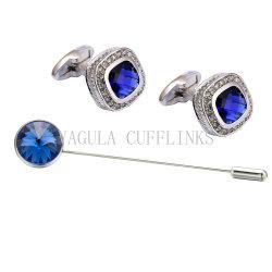 Moda VAGULA Brooch Pin y el conjunto Cufflink Cristal Azul 723