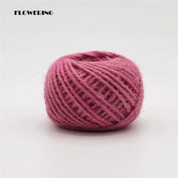 주문 제조 도매 황마 밧줄 공 2mm X 25g 분홍색