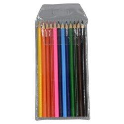 La alta calidad de 7 pulgadas de tamaño completo 12 pzas lleva suave de madera de lápiz lápices de colores en estuche de PVC /Bolsa con tarjeta impresa en el interior