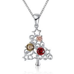 La mujer mayorista de joyas de aleación de cobre de la cadena del árbol de Navidad Collares Zircon Platinum Colgante de oro rosa Collar de instrucción para regalo
