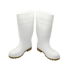 PVC Working Gumboot Waterproof White Color Safety Rainboots Men with 강철 토우