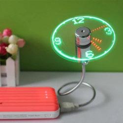 Gadget USB Mini Ventilador USB de la luz de LED Flexible reloj reloj de escritorio Cool Gadget Pantalla para notebook portátil flexible