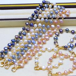 Frischwasserperlen-Halskette und Armband