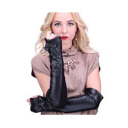 Echter schwarze Frauen-Form-Kleid-Winter lederne Handschuhe mit dem Bildschirm-Finger lang fahrend