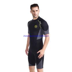 1,5mm Ultra Stretch Neopren Shorty Wetsuit, Rückenreißverschluss Ganzkörper-Tauchanzug Herren-Schnorcheln Tauchen Schwimmen