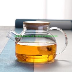 Высокая боросиликатного стекла Teapot с бамбуковой крышки багажника