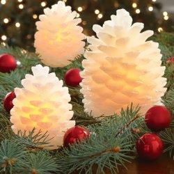 Holiday Flameless Pinecone decorativas Círios, velas LED