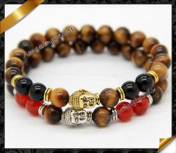 6mm Tiger Eye Stone Bracelets, Gold 및 Silver Charms Buddha Bacelets, New Beaded Men Bracelets (LW036)