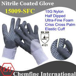 15g нейлон вязаные рукавицы с Ultra-Fine нитриловые пена покрытие и Criss-Cross упор для рук и эластичные манжеты