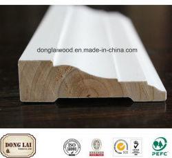 装飾の物質的な防水固体製材木の白いプライマー終わりの幅木